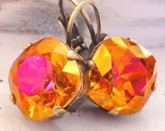 Astral Pink Swarovski Crystal Earrings, Square Cut Orange Crystal Drop Earrings, Bridal Crystal Jewelry, Pink Swarovski Crystal Earrings