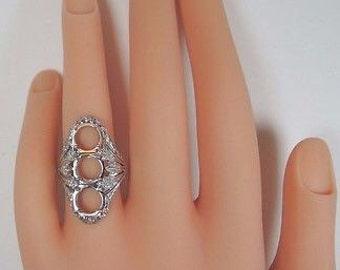 Antique Diamond Platinum Engagement Ring Setting | Will Hold 3-7MM-7.5MM | ES-108