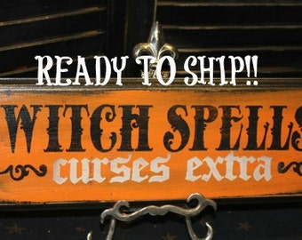 WITCH SPELLS Sign /Curses Extra/wood sign handpainted/Halloween Sign/Witch Sign/Halloween Decor/Wood Sign/Black/Orange/Ready to ship