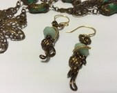 Bronze Filigree Flower Necklace with Turquoise Gemstones, Bronze Amazonite Wire Wrapped Earrings
