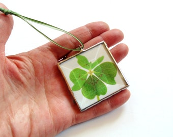 Four leaf clover ornament, photo ornament, stained glass ornament, green clover, Christmas ornament, St. Patrick day, shamrock ornament