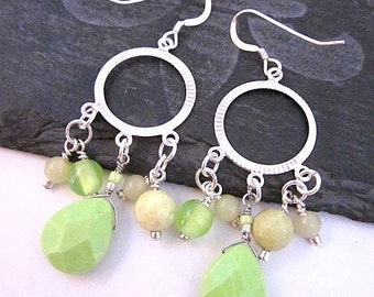 Lime & Silver Earrings -- Beaded Hoop Earrings -- Lime Green Bead Earrings -- Lime Hoops -- Light Green Earrings -- Lime Dangles