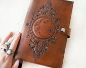 Leather Journal - Night Moon  - Man in the Moon - Hand Tooled Leather Diary - Magical Crescent Celestial - Mesa Dreams - Made to Order