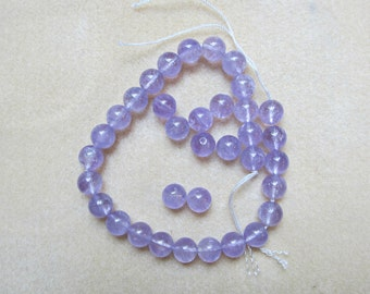 Round Amethyst Beads - 10mm Smooth - Light Purple - 35 Beads
