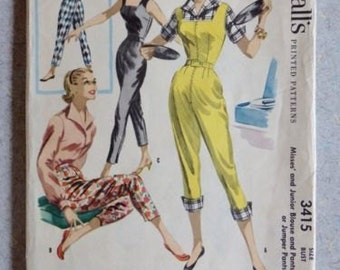 Rare Vintage 1950s McCalls 3415 Sewing Pattern Jumper Pants and Blouse Size 15