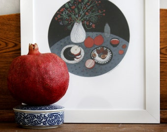 still life with pomegranates (print)