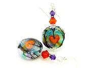 Pink and Orange Heart Earrings, Silhouette Heart Earrings, Lampwork Earrings, Glass Earrings, Beadwork Earrings, Glass Art Earrings