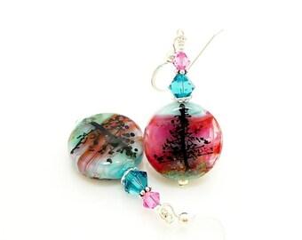 Silhouette Tree Earrings, Lampwork Earrings, Glass Earrings, Unique Earrings, Glass Bead Earrings, Glass Art Earrings, Unusual Earrings