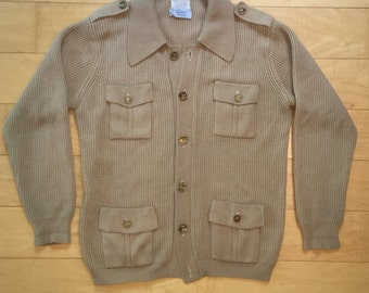 Vintage 60s mens sweater cardigan button down knit sweater