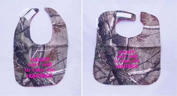 Daddy cant wait to take me Hunting - Small OR Large Girls Baby Bib - HOT Pink - FREE Shipping to U.S.
