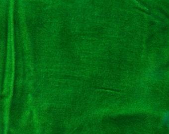 Velvet, hand-dyed silk-backed rayon velvet, Bright Green