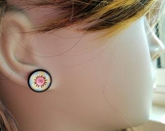 Tattoo Style Anenome Flower Earrings