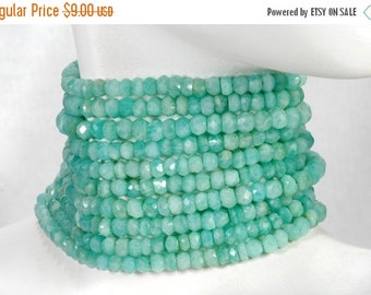 ON SALE Amazonite Beads Faceted Rondelles Rondels Roundels Blue Green Amazonite Earth Mined Gemstone - 4mm - 6.5-Inch Strand