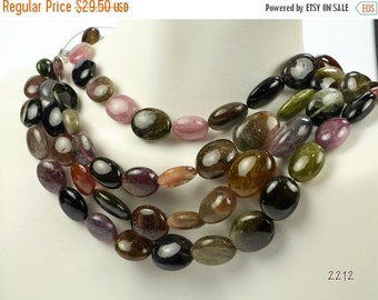 "ON SALE Tourmaline Nuggets, Mixed Colors, Smooth Nuggets, Pebbles, Center Drilled - One 8"" Strand - 19 Beads"