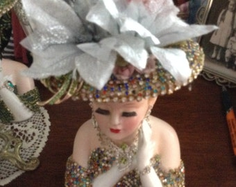 Jeweled 2705 lady head vase in varrigated and clear jewels