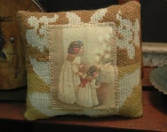 Vintage Christmas Children Primitive Brown Coverlet Pillow Basket Cupboard