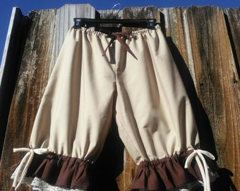 Tan bloomers with brown ruffles and lace