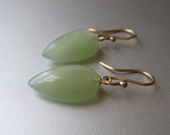 Serpentine Drops Solid 14k Yellow Gold Earrings