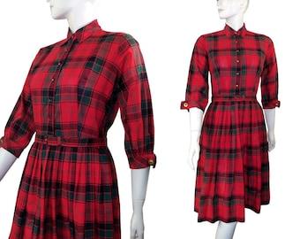 Vintage 1950s Tartan Plaid Full Skirt Day Dress size Medium