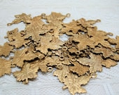 Qty 50 Raw Brass Leaves Dangle Charm