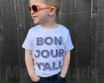 Boy's Bon Jour Y'all Shirt or Bodysuit Boy's French Vacation Shirt Boy's BonJour Shirt Bonjour yall shirt funny boys shirt France Vacation