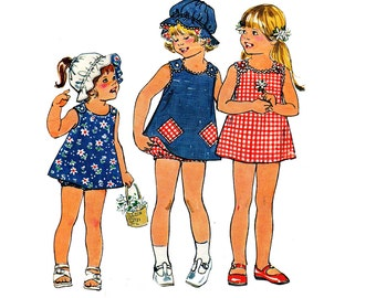 70s Toddler Girls Reversible Dress Hat & Bloomers Pattern Simplicity 6951 Vintage Sewing Pattern Size 2 Breast 21 inches