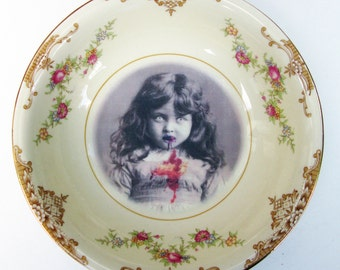 Portrait Bowl.   Lucy the Zombie Girl Portrait  5.3""