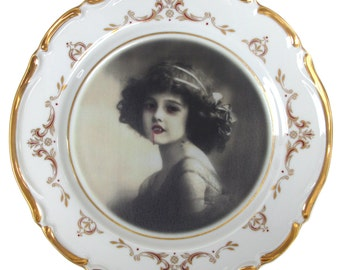 Lilith the Vampire Girl Portrait - Altered Antique Plate 6.75""