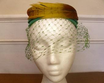 Vintage 1960's  Green Velvet Halo Hat w/Feather & Veil