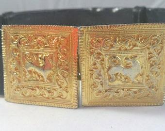 Adjustable Black Vinyl Belt Gold Buckle Signed Accessocraft NYC