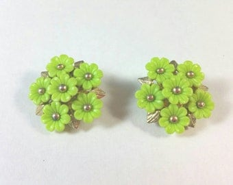 Lime Green Plastic Flowers Clip Earrings Unsigned