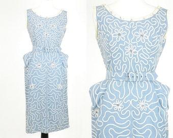 50s Dress, 1950s Suzy Perette Wiggle Dress, Slate Blue Linen Sheath Dress with Soutache Embroidery, Medium