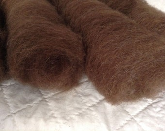 Shetland wool batts Hand processed carded natural moorit brown 1 oz