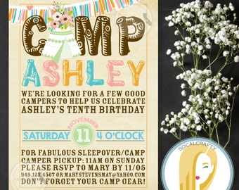 Teepee Birthday Party Invitation, Camp Invite, Campout, Sleepover, Pink Orange Teal, DIY, Printed or Printable Invitations, Free Shipping