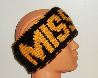 MISSOURI Personalized Headband in Black Gold knit Head band - college student gift