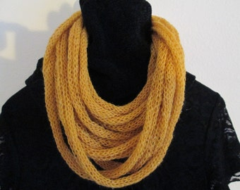 Lariat Knitted Homemade by SuzannesStitches, Multistrand Necklace, Knit Scarf, Gold Necklace, Handmade Knit Scarf, Soft Scarf, Light Scarf