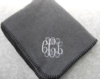 Monogrammed Fleece Blanket/Throw .. Soft.. Personalized...Gift..Sports Team..College Student..Family