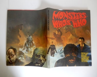 Vintage c. 1974 Monsters Who's Who Hardback Photographic & Illustrated A - Z of Monsters - 121 pages