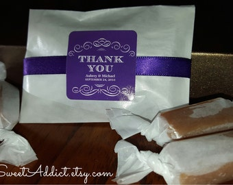 PURPLE THANK YOU Favors - Edible - Caramels - Customized - Great for Weddings, Engagement parties, Bridal Showers, Baby Showers, Birthdays