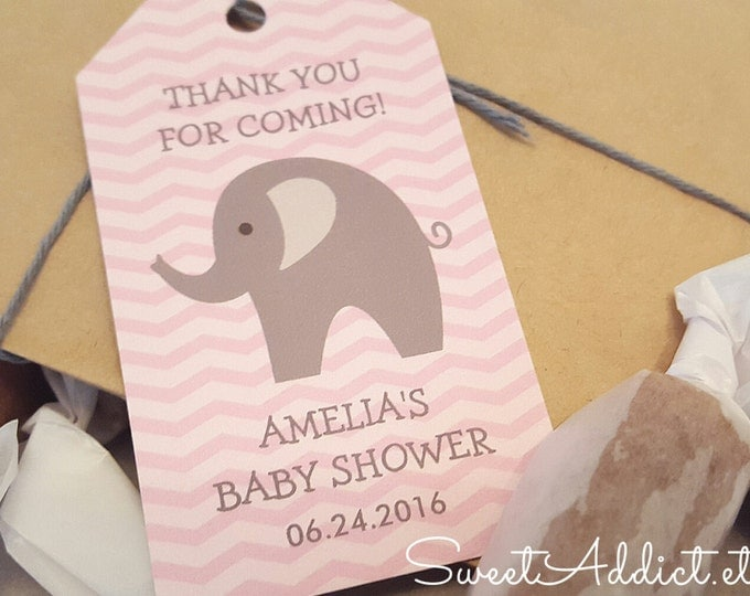 ELEPHANT BABY SHOWER Favors - Pink/Grey - Chevron - Two caramels each that your guests and mama-to-be will love!