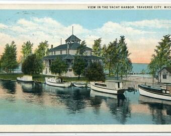Yacht Boat Harbor Traverse City Michigan 1932 postcard