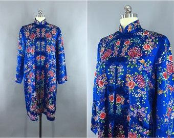 Vintage Embroidered Jacket / 1960s Satin Car Coat / Art Deco Chinoiserie Loungewear / Royal Blue Floral Embroidery / Size M L Medium - Large