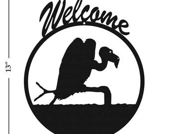 Buzzard Vulture Black Metal Welcome Sign