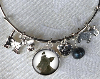 Custom Pet Charm Bracelet ~ Girlfriend Gift ~ Dog Bracelet ~ Sweetheart Birthday ~ Wire Bangle ~ Pet Jewelry ~ Dog Jewelry