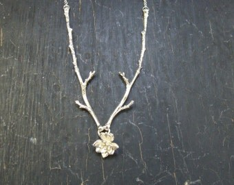 ON SALE -- Two Branches with Mini Flower Rosette Necklace -- Nature Cast