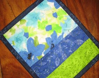 Mug Rug Snack Mat Blue Green Flowers, Reusable Placemat, Plant Mat, Small Table Mat, Gift for Her, Teacher Gift, Summer Flowers, Handmade