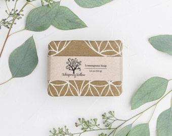 Linen Wrapped Natural Lemongrass Soap - Made with Organic Oils - Vegan - 5.5 oz