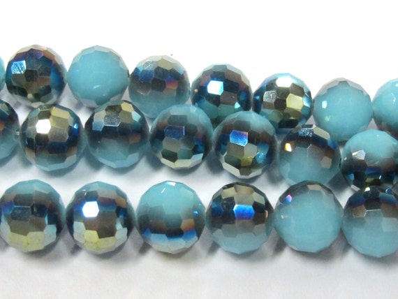 1 Full strand - Faceted round AB multi tone blue shiny  crystal glass beads 10 mm - AB048