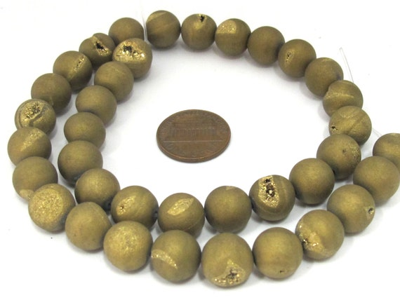 1 strand - 36 beads - 10 mm size - Beautiful Metallic Gold color druzy agate round beads  - GM395