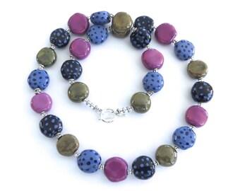 Short Kazuri Bead Necklace, French Blue, Violet and Khaki Beaded Necklace, Ceramic Jewelry